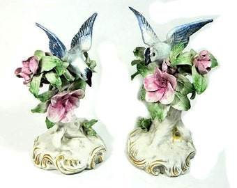 A Pair of Cordey Blue Bird and Flower Figurines American Art Pottery
