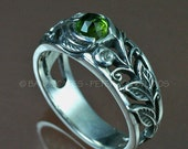 Sterling SPRINGTIME Ring - Leaves and Scrolling Vines, Tourmaline with White Sapphire