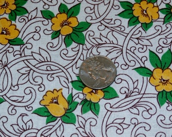 """Vintage Cotton Floral Feedsack Fabric Lemon Yellow Flowers Wine and Green Quilting 24 1/2"""" x 45 3/4"""""""