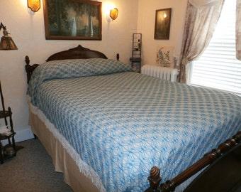 "Vintage Crochet or Bobbin Lace Coverlet Bedspread 80 1/2"" x 115"""