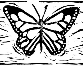 Linocut Monarch Notecard Set of 4