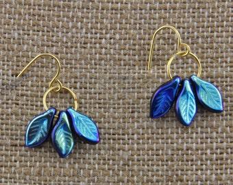 Handmade Brass And Czech Glass  Earrings