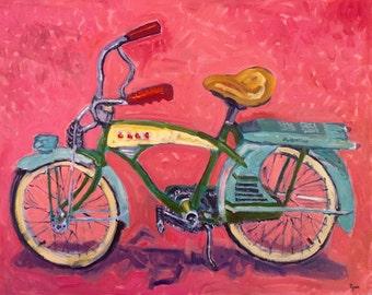 Cruiser Bike - Painting, Original Oil, Vintage Bicycle, Old School, Pink, Art, Oil Painting, Home Decor, Man Cave