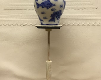 White distressed and cobalt blue painted candle stand or pedestal - Dollhouse Size