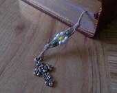 Bible Bookmark, Antique Silver Cross Charm Wood Bead Seed Beads Handmade  Natural Hemp