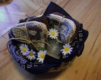 Crocheted Gift Basket, 6 Coasters and 3 Wash Cloths Vanilla Candle Brown Variegated, Beige and Blue, Dark Blue Bandana Handmade