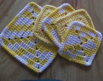 Crocheted Dishcloth, Wash Cloth, Pot Holder, Hot pads, and Coasters, Yellow and White, 100 Per Cent Cotton Yarn Hand Made