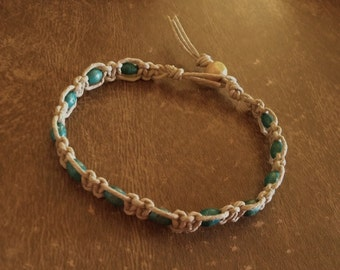 Hemp Bracelet Small Turquoise/Teal Wood Beads 7  3/4 Inches Handmade Natural Tan Hemp