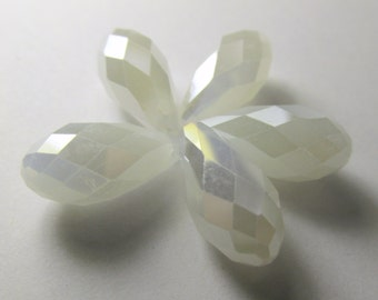 6 White Opal Long 8mm x 16mm Crystal Briolette Teardrop Jewelry Beads - Top Drilled Briolettes