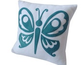 Fleece Applique Butterfly cushion  pillow teal