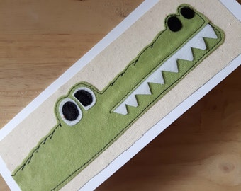 Applique Crocodile birthday card, thankyou  card, textile card, children's card