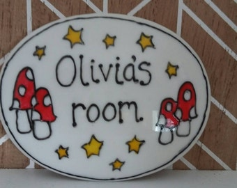 0livias room name plaque door sign mushrooms fairyland