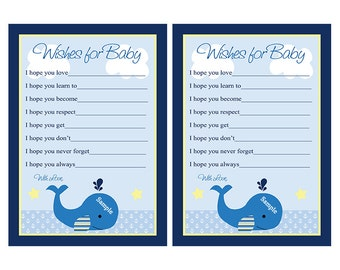 Printable Brody/ Blue Whale/Nautical Wishes for Baby Cards Instant Digital Download