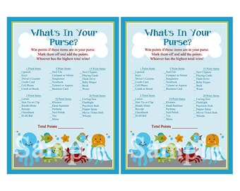 Printable Ocean Dreams/Octopus/Fish/Sealife/Turtle Baby Shower What's in Your Purse Game Instant Digital Download