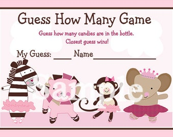 """Printable """"Tutu Cute/Ballerina Animals"""" Guess How Many Game Instant Digital Download"""
