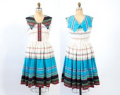 Vintage 50s DRESS / 1950s Novelty Rick Rack Print Full Skirt Cotton Rockabilly Day Dress M