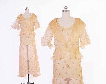Vintage 30s Sheer DRESS / 1930s EMBROIDERED Sheer PEACH Silk Voile Garden Party  Peplum Dress M