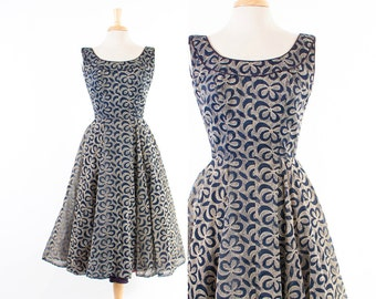 Vintage 50s DRESS / 1950s Bow Print Flocked Cocktail Party Dress Navy Blue and Cream with Full Skirt S