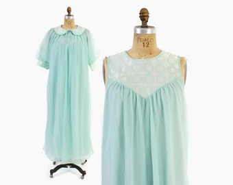 Vintage 60s Nightgown & Peignoir SET / 1960s Aqua Chiffon Embroidered Satin Nightie Robe S