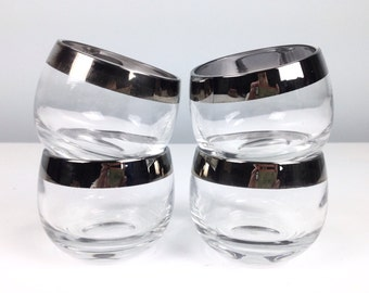 Set of 4 Mid Century Roly Poly Glasses / Mad Men Glasses / Bourbon Glass / Don Draper Drinking Glass with Silver Rim