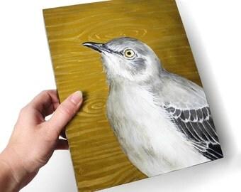 Mockingbird painting - mocking bird backyard bird art - realistic wildlife painting - metallic gold wood grain