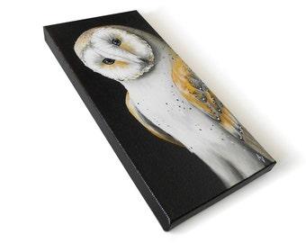 Barn Owl painting #6, realistic wildlife art original, 6x12