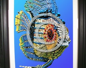 Tropical Fish Fashioned from Computer Parts. Signed Photo Print.