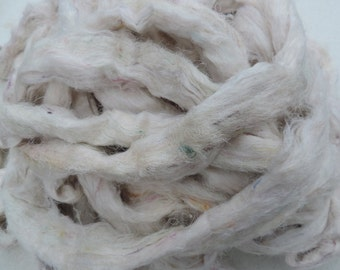 NEW Color White With Tiny Pastel Pieces Carded Sari Silk Fiber Roving Form 4 Ounces
