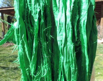 NEW Greens Solid And Or Several Different Greens Sari Ribbon Yarn 100 Gram Skein 55-60 Yards