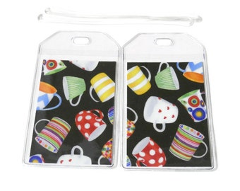 Luggage Tags Set of 2 Coffee Cups