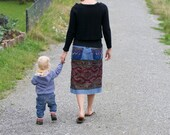 Skirt made from an Indonesian handwoven ikat textile and recycled denim - GENUINE IKAT