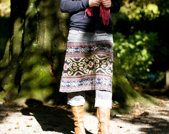 Sample Sale! Skirt made from an Indonesian handwoven ikat textile and recycled denim - GENUINE IKAT