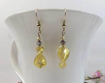 Venetian Murano Glass Twist Earrings w Sterling and Swarovski, Genuine Murano Venetian Glass Gold Twist Earrings, Goldfoil Murano Earrings