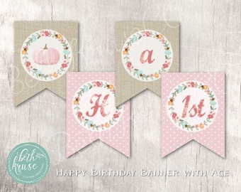 Floral Pumpkin Printable Banner INSTANT DOWNLOAD by Beth Kruse Custom Creations