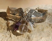 Vintage Spoon Bracelet with Amethyst, Coin Pearl and Crystal.......item number 5464