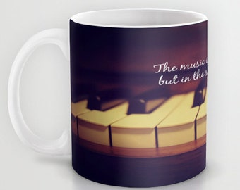 Music coffee cup Piano keys mug Instrument tea Keyboard photography Mozart quote typography composer classical Music lover pianist