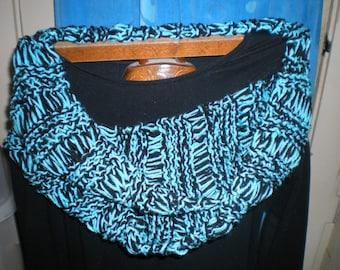 black and aqua infinity scarf