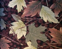 Fabric Fall Leaf Tree Eustheelf Thanksgiving Holiday Green Brown Quality Quilt 100% Cotton By the 1/2 yard 105
