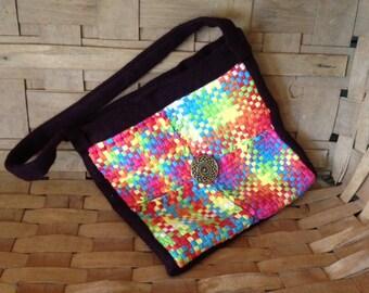 School Bag Messenger Handbag Girls Loom Potholder Repurposed