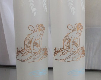White Rock Frosted Fairy Glasses, Vintage Barware, Frosted Highball Glasses, Etched Fairy Design, 1940's Rare Glassware, Beverage Serving