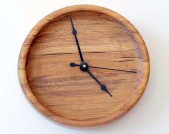 Wood Wall Clock, Spalted Red Elm Turned Clock, Wall Clock, Oval