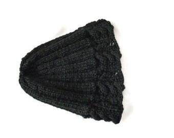 Womens Knit Hat, Winter Wool Beanie, Black knit Hat, Black Beanie