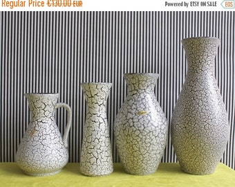 Summersale Vintage Mid Century West German Pottery Set of 3 Vases and a Jug Vase by Jasba Dekor Cortina