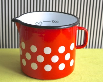 Vintage Red Enamel White Polka Dots handled Pot
