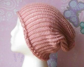 Valentine's Day sale pink knit beanie slouchy beanie woman's beanie lightweight beanie  spring fall fashion Peace Stitch Studio