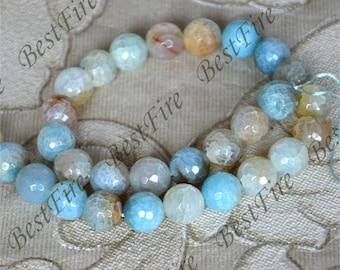 Single 12mm faceted Round Agate stone Beads ,agate stone beads loose strands,agate beads findings 15inch