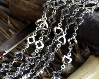 Brass Flower and Heart Link Chain,metal chains,brass chain,jewelry findings