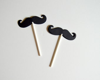 Set of 12- 3-D Mustache Cupcake Toppers