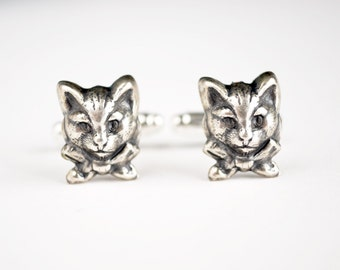Cat Cuff Links, Bow Tie Cuff Links, Silver Suit Accessories