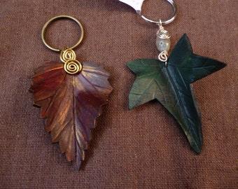 Leather Leaf Keyrings - Choose from Birch, Ivy, Oak or Hawthorn